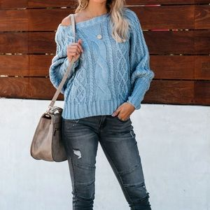 CURRENT AIR CABLE KNIT CHUNKY SWEATER
